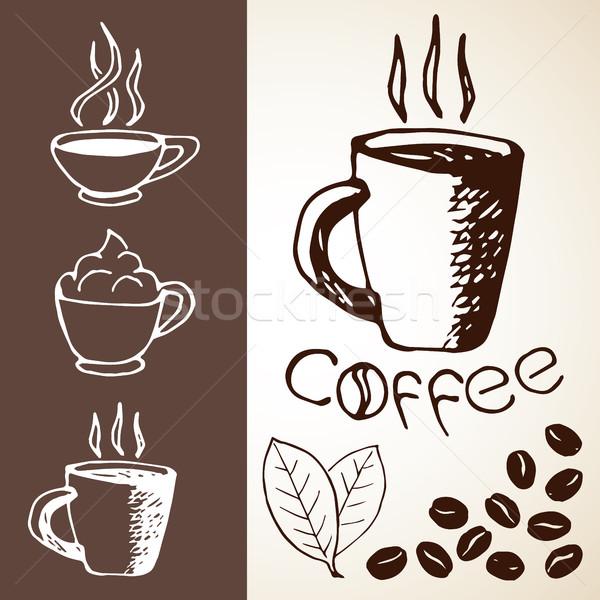 Foto stock: Dibujado · a · mano · café · establecer · colección · fotos