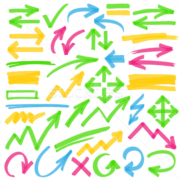 Highlighter Arrows and Marking Design Elements Stock photo © creativika