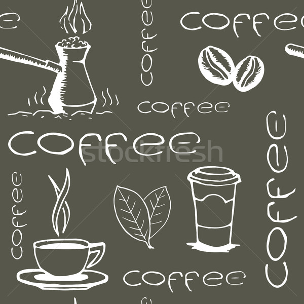 Café xícaras de café feijões folhas Foto stock © creativika