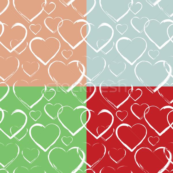 Conjunto corações coração branco Foto stock © creativika