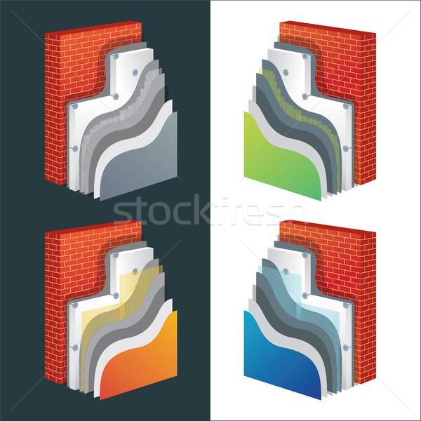 Yalıtım yalıtılmış duvar tuğla duvar vektör Stok fotoğraf © creativika