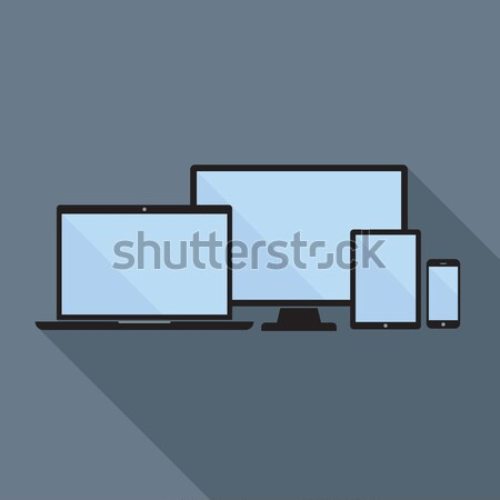 Stock photo: Smartphone, Tablet, Laptop and Desktop Computer Flat Icons