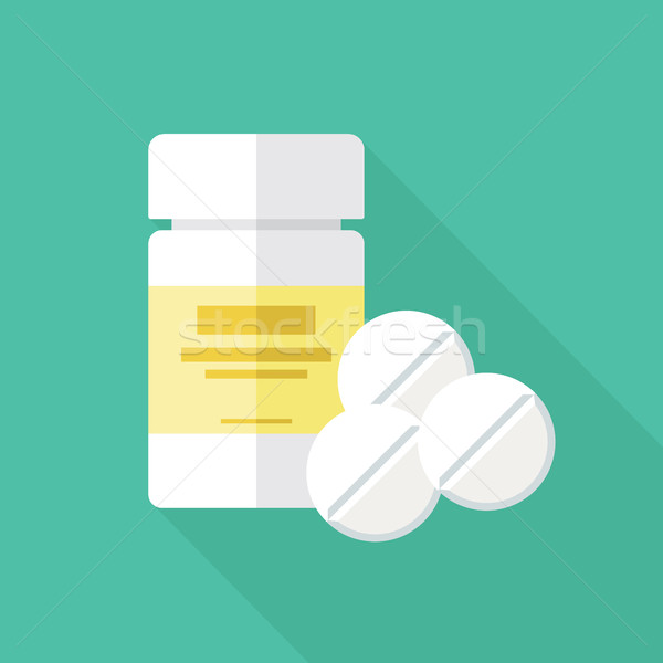 Stock photo: Medical Packaging Container and Pills Flat Icon