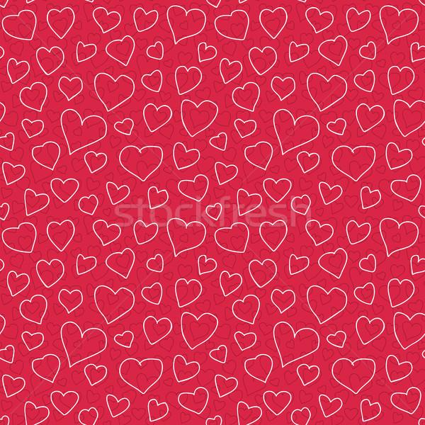 Absztrakt szívek végtelen minta firka textúra különböző Stock fotó © creativika