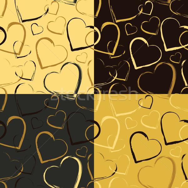 Conjunto dourado corações símbolos coração Foto stock © creativika