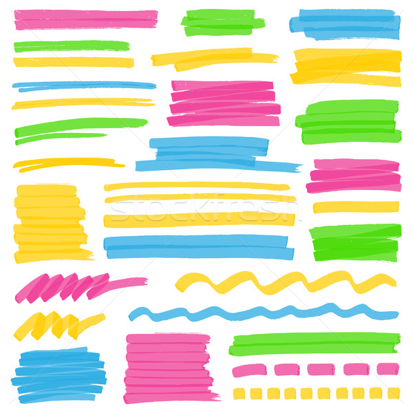 Highlighter Color Stripes, Strokes and Marking Design Elements Stock photo © creativika