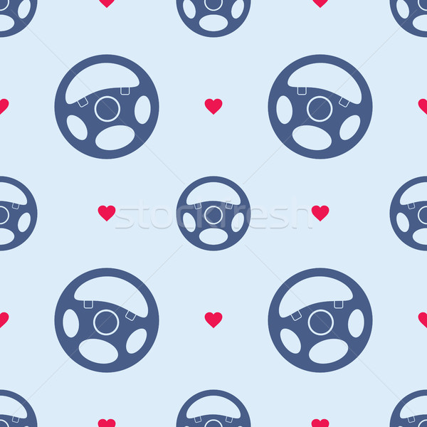 Car Steering Wheel Seamless Pattern with Hearts Stock photo © creativika