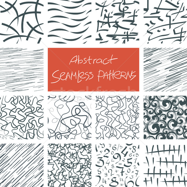 Abstract Doodle Seamless Patterns Set Stock photo © creativika
