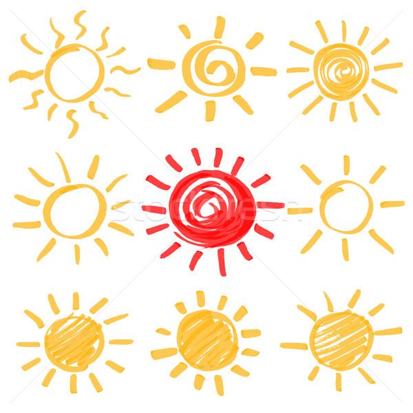 Vector markeerstift zon ingesteld fiche zomer Stockfoto © creativika