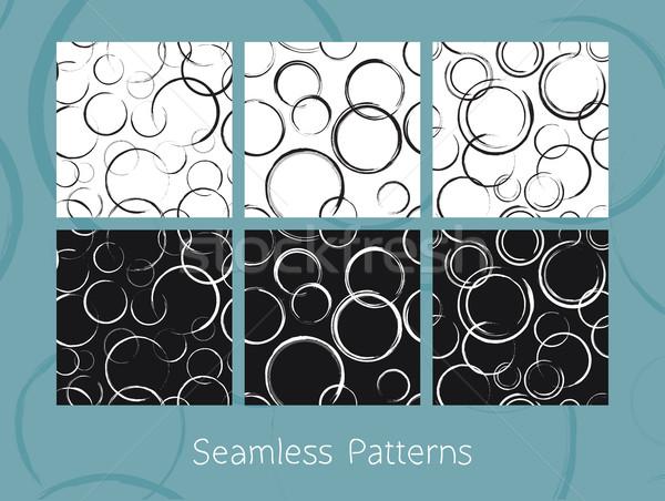 Abstrato círculos conjunto seis azulejos Foto stock © creativika