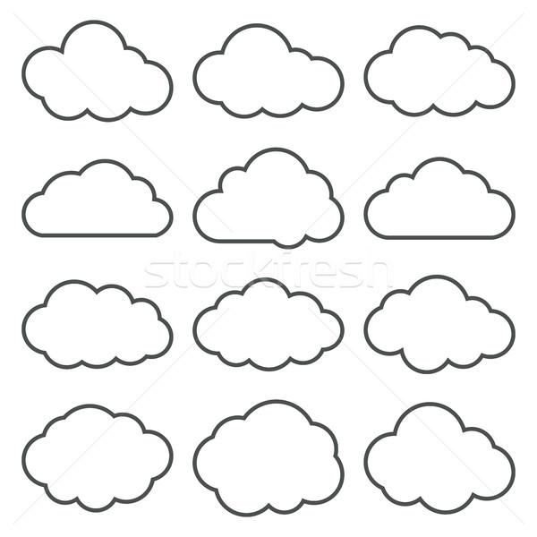 Nuvem formas coleção conjunto fino linha Foto stock © creativika