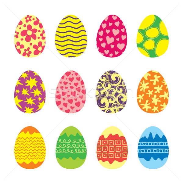 Stok fotoğraf: Paskalya · yumurtası · vektör · ayarlamak · simgeler · stil