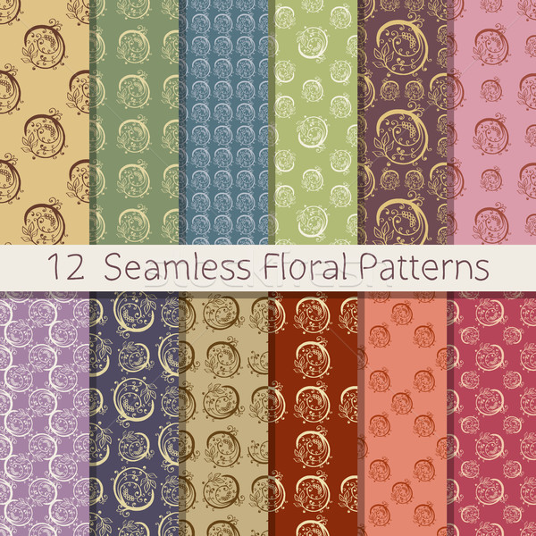 Hand Drawn Floral Seamless Pattern Set Stock photo © creativika
