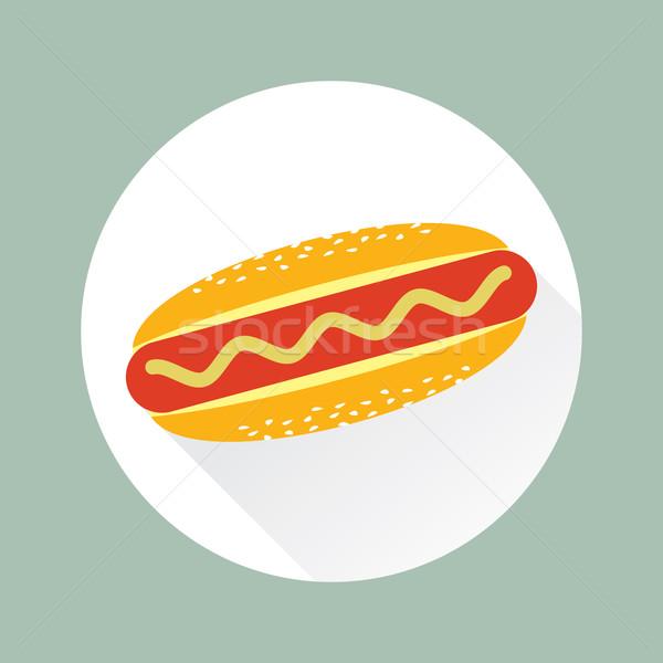 Hot Dog Vector Flat Icon in Circle Stock photo © creativika