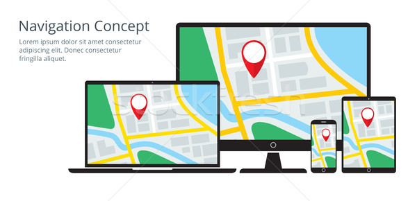 Navigation Concept of Responsive Map Application Stock photo © creativika