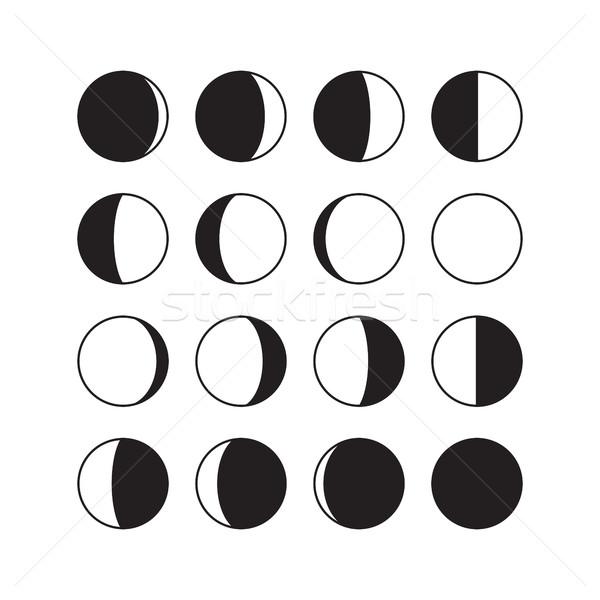 Moon Phases Icons Stock photo © creativika