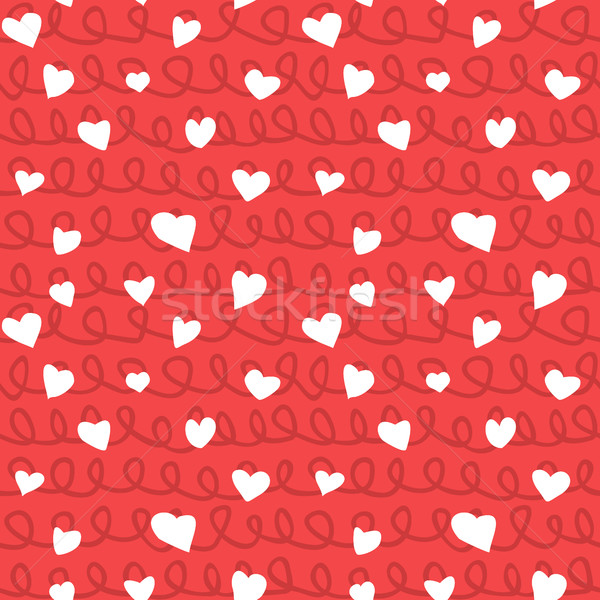 Abstract Hearts and Ropes Seamless Pattern Doodle Texture Stock photo © creativika