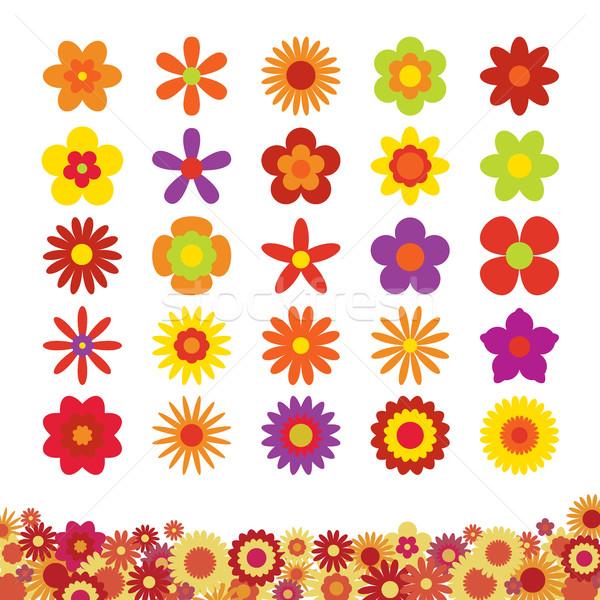 Set of Flowers Isolated on White Background Stock photo © creativika