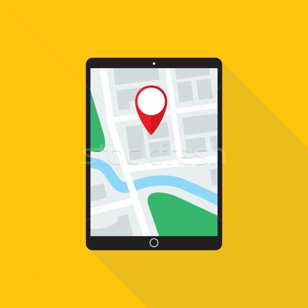 Map application on tablet pc monitor flat design icon vector.
