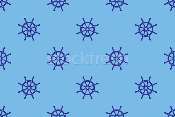 Ship Steering Wheels Nautical Seamless Pattern Stock photo © creativika
