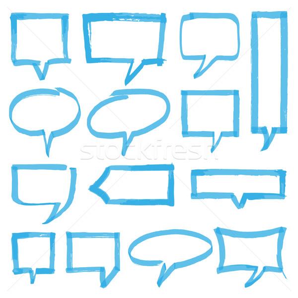 Szövegkiemelő szövegbuborékok terv elemek szett kézzel rajzolt Stock fotó © creativika