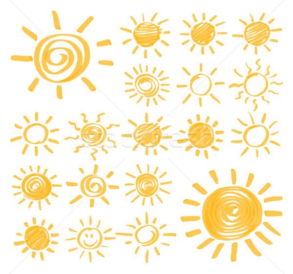 Vektor szövegkiemelő nap szett jelző nyár Stock fotó © creativika