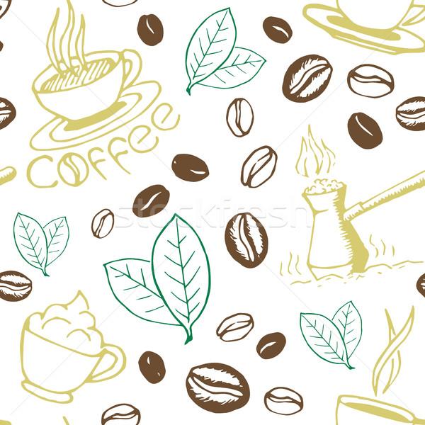 Stock photo: Coffee Hand Drawn Seamless Pattern