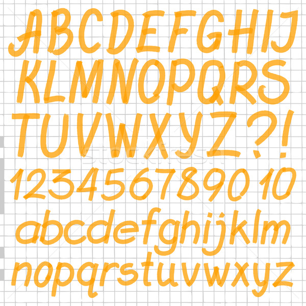 Kézzel írott szövegkiemelő ábécé levelek számok szimbólumok Stock fotó © creativika