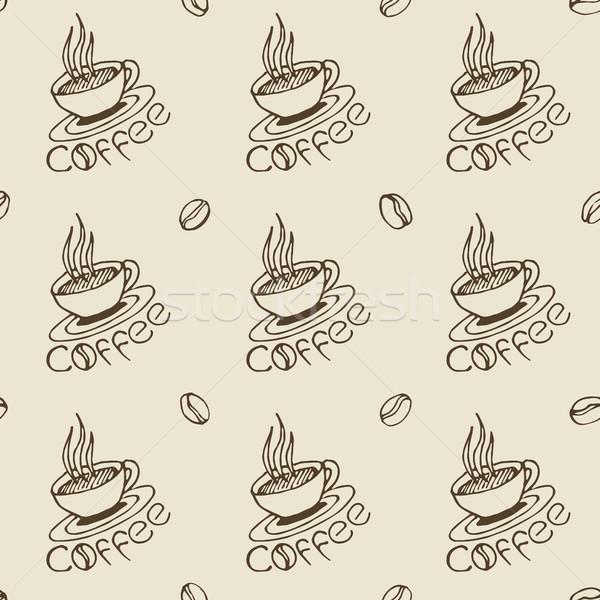 Tazze di caffè fagioli caffè pattern Foto d'archivio © creativika