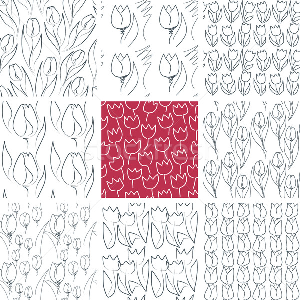 Tulips Seamless Patterns Set Stock photo © creativika