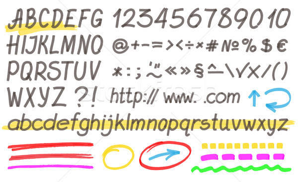 Handwritten Highlighter Alphabet Stock photo © creativika