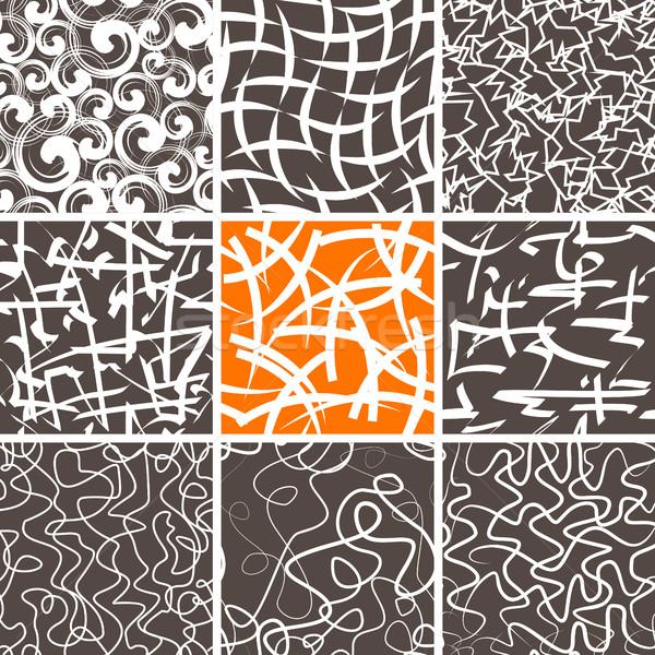 Abstrato rabisco conjunto sem costura padrões Foto stock © creativika