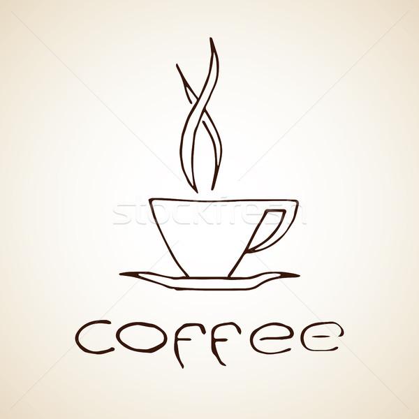 Tazza di caffè sketch etichetta vettore eps8 Foto d'archivio © creativika