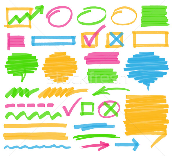 Highlighter Marking Design Elements Stock photo © creativika