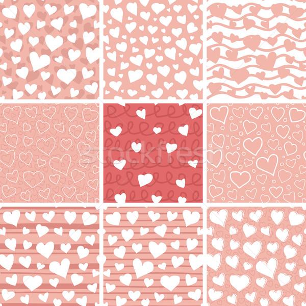 Absztrakt szívek végtelenített minták szett firka végtelen minta Stock fotó © creativika