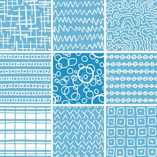 Absztrakt firka végtelenített minták szett végtelenített minták Stock fotó © creativika