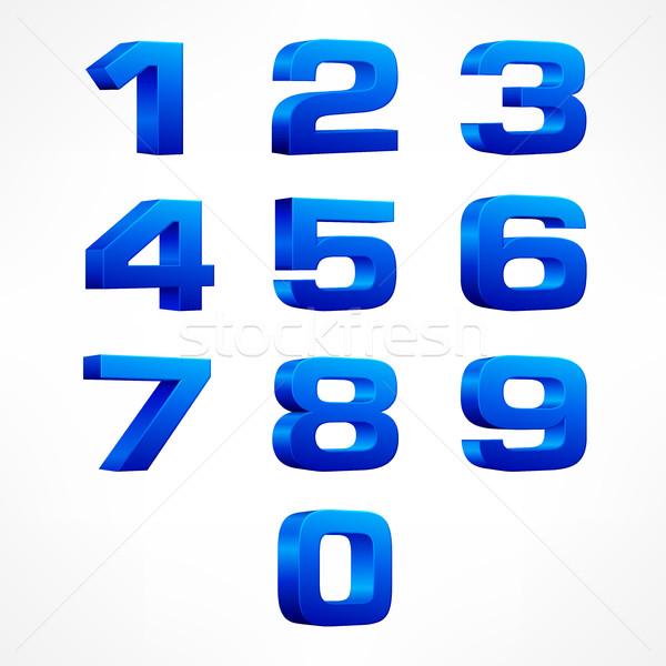 алфавит изометрический номера синий набор вектора Сток-фото © creatOR76