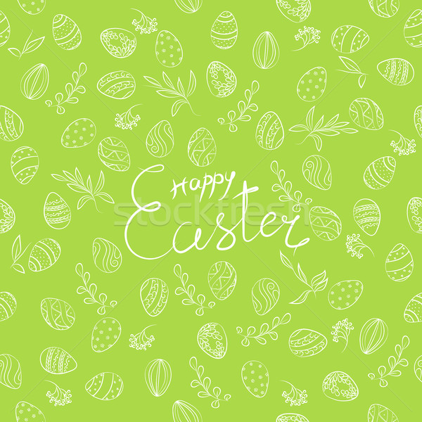 Пасху цветочный шаблон зеленый яйца весны Сток-фото © creatOR76