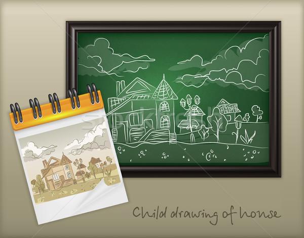 Copil mână desen peisaj cretă casă Imagine de stoc © creatOR76