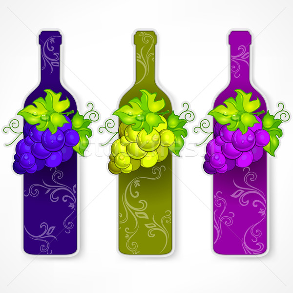 Bottle wine with grapes and pattern Stock photo © creatOR76