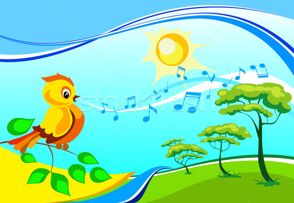 Landscape with a singing birdy  Stock photo © creatOR76