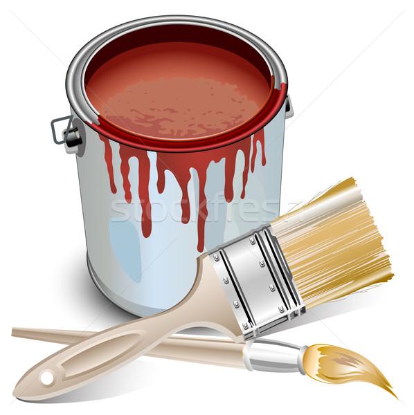 Tin vernice costruzione casa rosso Foto d'archivio © creatOR76