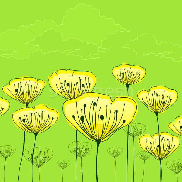 стилизованный цветы зеленый желтые цветы цветок моде Сток-фото © creatOR76