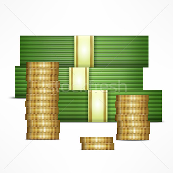 Piles of money and coins Stock photo © creatOR76