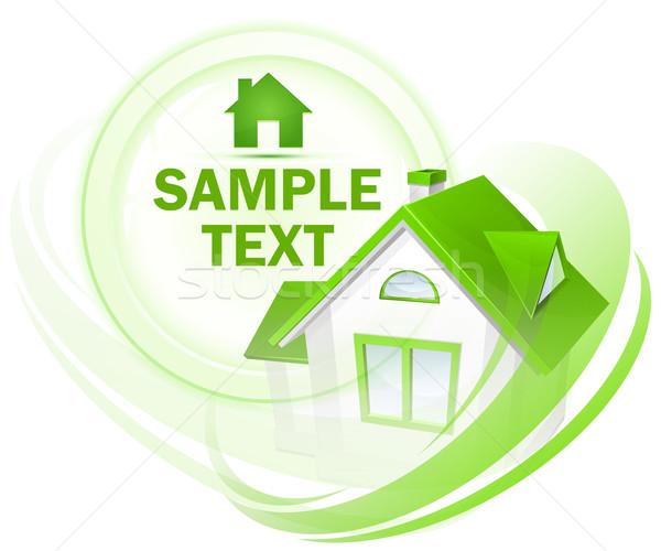 Modell ház kör szöveg zöld környezet Stock fotó © creatOR76