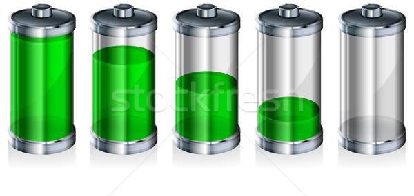 バッテリー レベル インジケータ 白 エネルギー 技術 ストックフォト © creatOR76