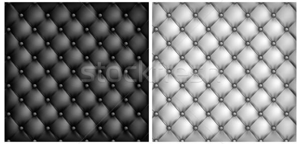 White & black leather upholstery background Stock photo © creatOR76