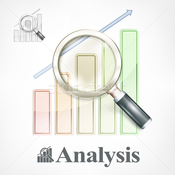 Stock photo: Magnifying glass and color chart