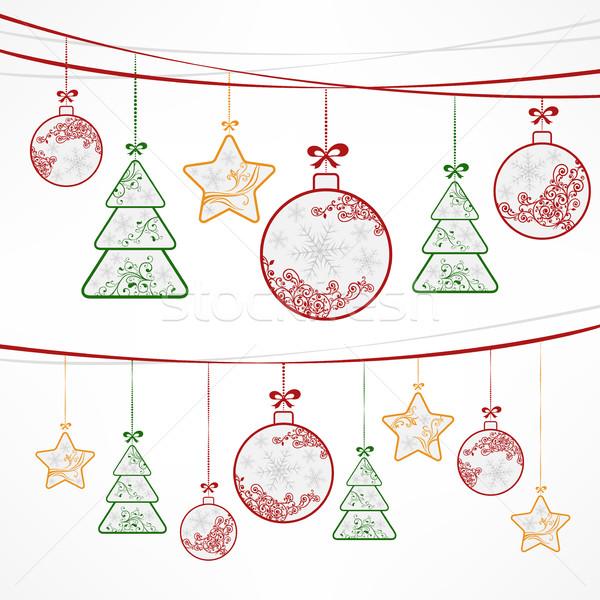 Noel süs dekorasyon beyaz Yıldız ağaçlar Stok fotoğraf © creatOR76
