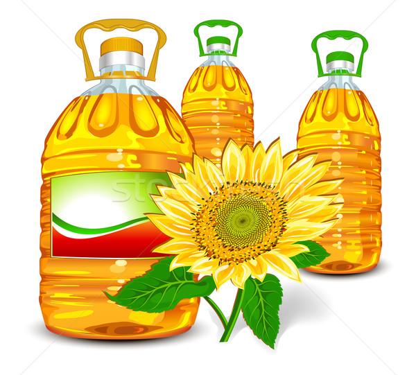 óleo de girassol garrafa Óleo girassol isolado branco Foto stock © creatOR76